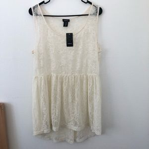 NWT Torrid Ivory Lace Empire Tunic